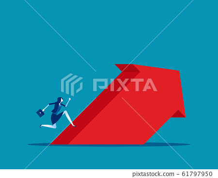 Businessman run up to the arrow. Concept business 61797950