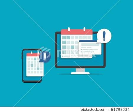 Calendar date alarm as deadline notification on computer screen 61798384