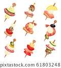 Canape with Different Ingredients Isolated on White Background Vector Set 61803248