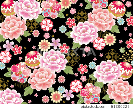 ชุดกิโมโนพีโอนีสีชมพูลายพื้นหลังสีดำ 61806222