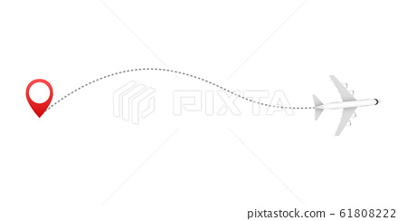 Airplane line path icon of air plane flight route 61808222