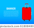 Red glossy suitcase with wheels. Travel banner 61808480