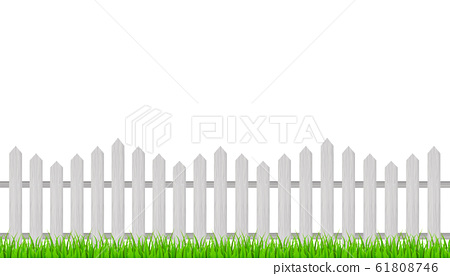 Wooden fence and grass. Vector stock illustration. 61808746