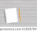 White wood background. Notepad and pencil Vector 61808784
