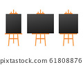 Vector Set of Wooden Brown White Sienna Easels 61808876