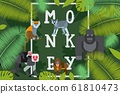 Monkey typographic poster, vector illustration. Gorilla, lemur, ice monkey and mandrill cartoon characters. Zoo apes and primates, jungle animals on book cover template 61810473