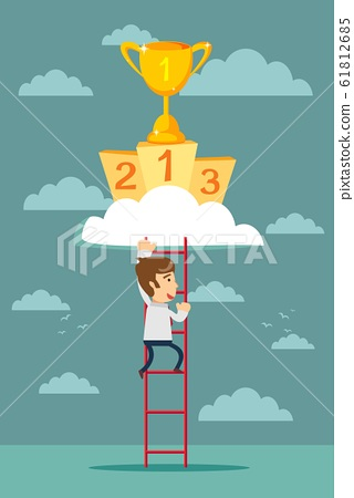 climb to trophy over clouds. 61812685