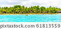 Sunny holiday in tropical paradise. Blue sea and sky, white sand beach and green palm trees 61813559