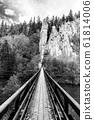 Swing Bridge over Ohre River at Svatos Rocks, Czech: Svatosske skaly, at autumn time, Czech Republic 61814006
