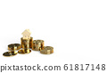 The  home wooden gold coins group 3d rendering on white background  for property content. 61817148