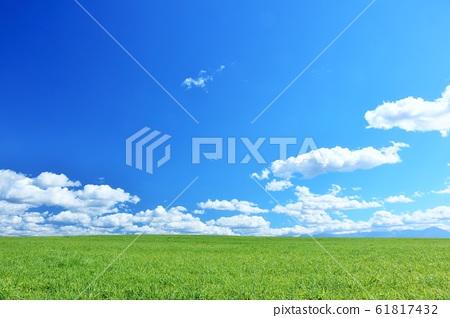 北海道夏天的藍天和美瑛的土地 61817432