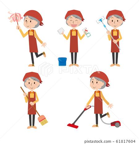 清潔一般清潔婦女家庭主婦家務清潔套老年人奶奶老年婦女 61817604