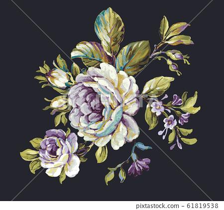 深底上彩色的手繪花卉素材 61819538