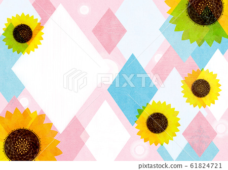 Background material-sunflower and rhombus pattern 3 tech 61824721