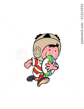 橄欖球一個孩子衝著橄欖球球衝 61824950