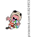 橄欖球孩子帶著球跑來跑去微笑 61824953