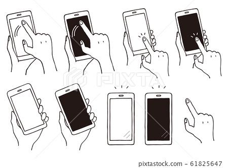 智能手機操作的手繪風格插圖 61825647