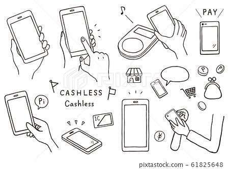 與智能手機付款有關的手繪風格插圖 61825648