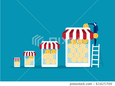 Businessman take coin for save money franchise business 61825700