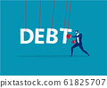 Businesswoman punching the big debt. on blue background vector 61825707