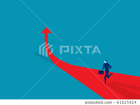 Businessman runing on the arrow red . go to target business success. 61825924