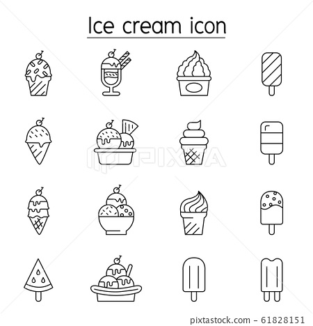 Ice cream icon set in thin line style 61828151