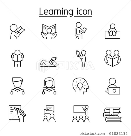 Learning & Reading icon set in thin line style 61828152
