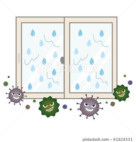 Window image with mold growing due to condensation 61828331