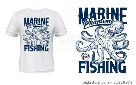 T-shirt prin with ocean octopus 61829978