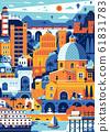 Mediterranean Italy Sea Town Cagliari Travel Poster 61831783