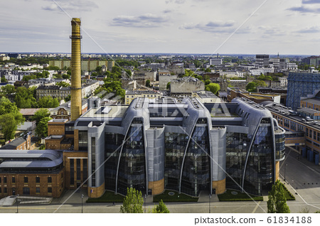 Aerial view complex buildings former EC1 power 61834188
