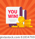 Money winner banner with you win text message vector illustration flat cartoon, concept or success prize or cash gift promotion coupon, surprize award modern design or jackpot image 61834769