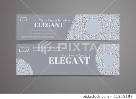 Banner template set with pearl pattern background. Elegant design. 61835198