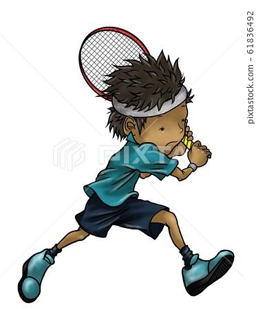 맹훈련에서 꿈꾸는 테니스 선수를 목표로하는 소년 61836492