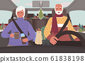 Senior People on Road Trip in Winter in Car Vector 61838198