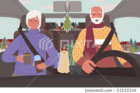 Senior People on Road Trip in Winter in Car Vector 61838198