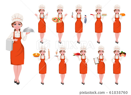 Beautiful young chef woman, set of eleven poses 61838760