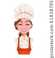 Face expression of beautiful young chef woman 61838765