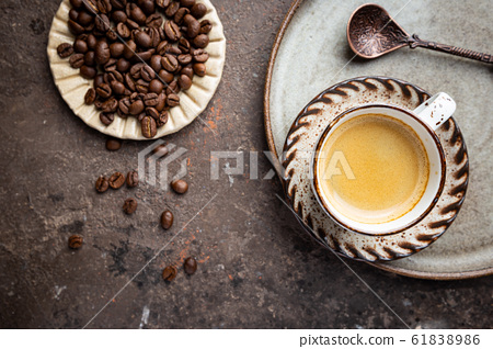 Top view cup of hot coffee 61838986