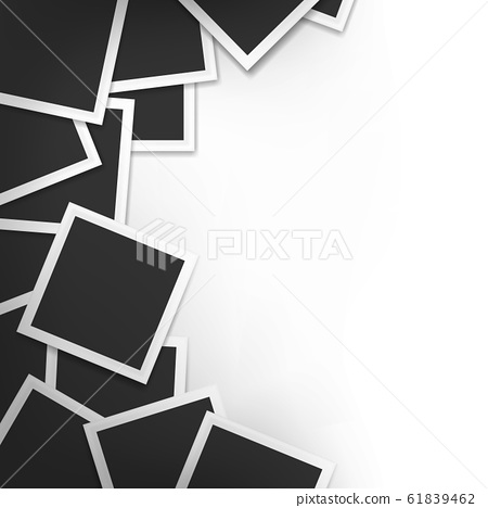 Pile photo frames on white with shadow background. Photo frames. 61839462