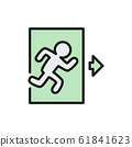 Emergency exit, man running out sign flat color line icon. 61841623