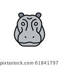Vector hippo glyph, river-horse, hippopotamus flat color line icon. 61841797