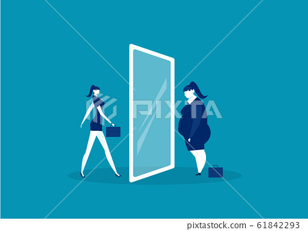 businesswoman looking at the mirror standing with fat belly. compare body thin vector 61842293