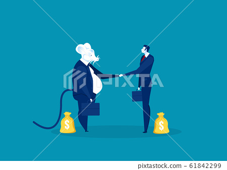 rat shake hand with business people for invest vector illustrator. 61842299