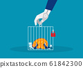 business with big brain hard working in cagevector 61842300