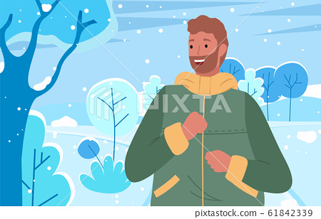 Man Wearing Warm Clothes Outdoors in Winter Park 61842339