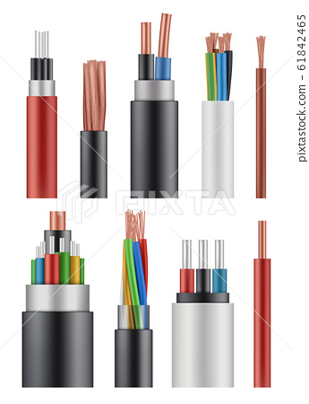 Optical fiber cord. Electricity wireless energy power cable close up vector realistic picture 61842465