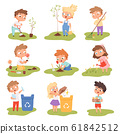 Kids planting. Happy children gardening digging picking plants eco weather protect tree vector set 61842512