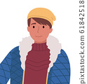 Cute Teenage Boy Wearing Knitted hat and Jacket 61842518