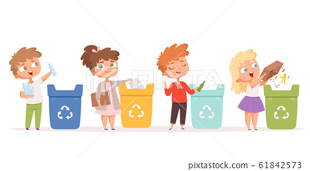 Kids recycling garbage. Saving nature ecology safe environment protection healthy recycling processes vector cartoon characters 61842573